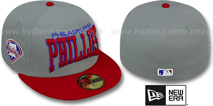 Philles 'PRO-ARCH' Grey-Red Fitted Hat by New Era : pictured without stickers that these products are shipped with