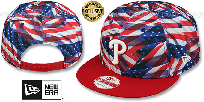 Philles 'USA WAVING FLAG SNAPBACK' Flag-Navy Hat by New Era : pictured without stickers that these products are shipped with