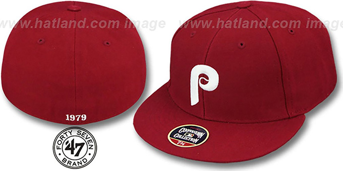 Phillies '1979 COOPERSTOWN' Fitted Hat by Twins 47 Brand : pictured without stickers that these products are shipped with