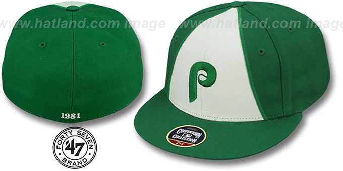 Phillies '1981 COOPERSTOWN ST PATS' Fitted Hat by Twins 47 Brand : pictured without stickers that these products are shipped with