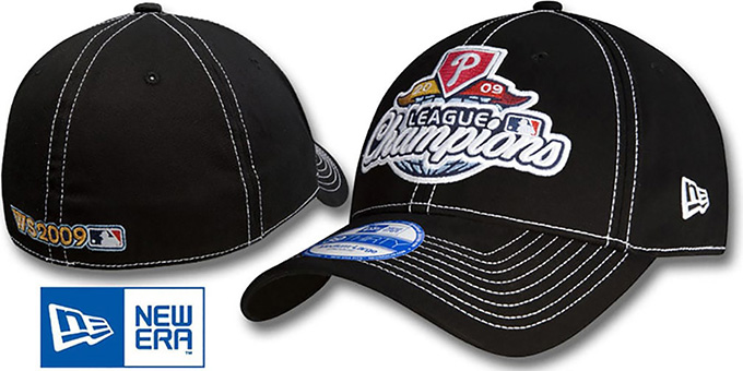 Phillies '2009 NATIONAL LEAGUE CHAMPS' Hat by New Era : pictured without stickers that these products are shipped with