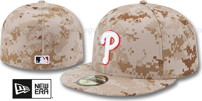 Phillies 2013 'STARS N STRIPES' Desert Camo Hat by New Era : pictured without stickers that these products are shipped with