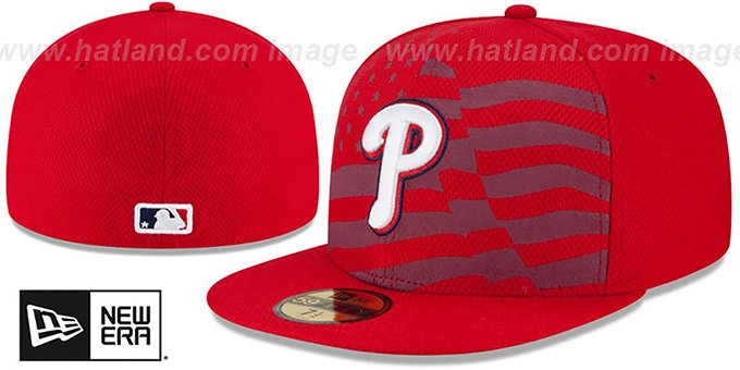 Phillies '2015 JULY 4TH STARS N STRIPES' Hat by New Era : pictured without stickers that these products are shipped with