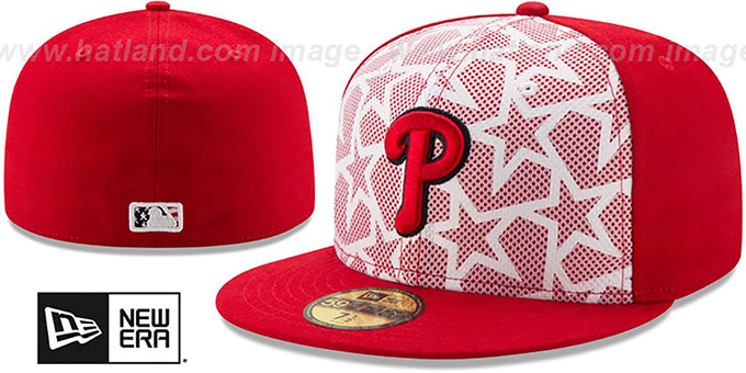 Phillies '2016 JULY 4TH STARS N STRIPES' Fitted Hat by New Era : pictured without stickers that these products are shipped with