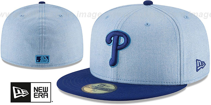 275f2d0e99257 Philadelphia Phillies 2018 FATHERS DAY Sky-Royal Fitted Hat