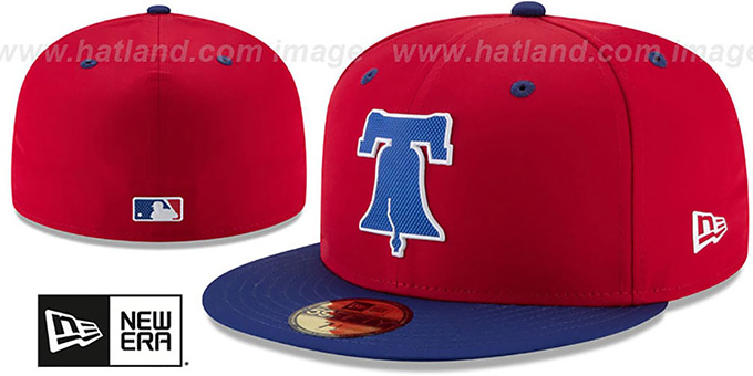 Phillies '2018 PROLIGHT-BP' Red-Royal Fitted Hat by New Era : pictured without stickers that these products are shipped with