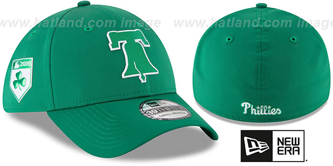 Phillies '2018 ST PATRICKS DAY FLEX' Hat by New Era : pictured without stickers that these products are shipped with