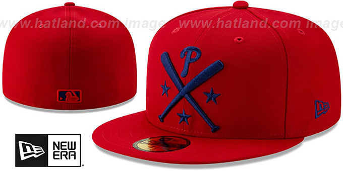 big sale 11960 fe149 Phillies  2019 MLB ALL-STAR ALTERNATE WORKOUT  Red Fitted Hat by ...