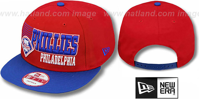 Phillies '2T BORDERLINE SNAPBACK' Red-Royal Hat by New Era : pictured without stickers that these products are shipped with