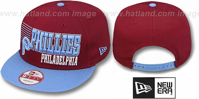 Phillies '2T COOP BORDERLINE SNAPBACK' Burgundy-Sky Hat by New Era : pictured without stickers that these products are shipped with