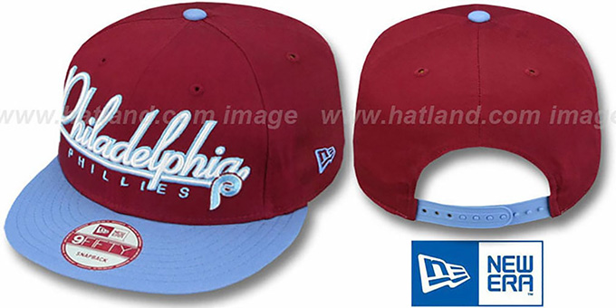 Phillies '2T COOP CHARZ SNAPBACK' Burgundy-Sky Hat by New Era : pictured without stickers that these products are shipped with