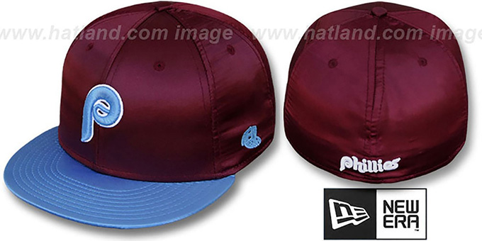 Phillies '2T COOP SATIN CLASSIC' Maroon-Sky Fitted Hat by New Era : pictured without stickers that these products are shipped with