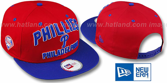 Phillies '2T PAYDIRT SNAPBACK' Red-Royal Adjustable Hat by New Era : pictured without stickers that these products are shipped with