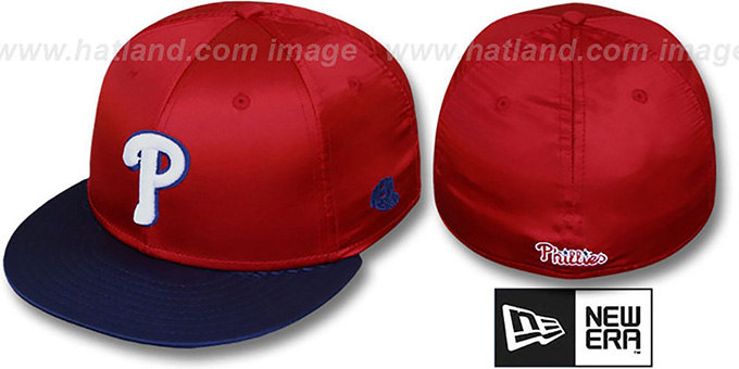 Phillies '2T SATIN CLASSIC' Red-Navy Fitted Hat by New Era : pictured without stickers that these products are shipped with