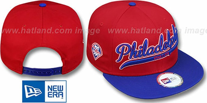 Phillies '2T SCRIPTER SNAPBACK' Red-Royal Hat by New Era : pictured without stickers that these products are shipped with