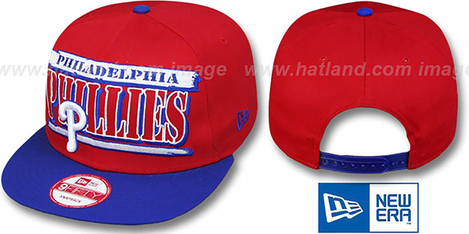 Phillies '2T STILL BREAKIN SNAPBACK' Red-Royal Hat by New Era : pictured without stickers that these products are shipped with