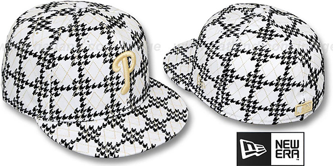 Phillies 'A-TOOTH' White-Black Fitted Hat by New Era : pictured without stickers that these products are shipped with