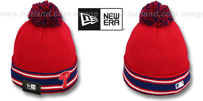 Phillies 'AC-ONFIELD' Red Knit Beanie Hat by New Era : pictured without stickers that these products are shipped with
