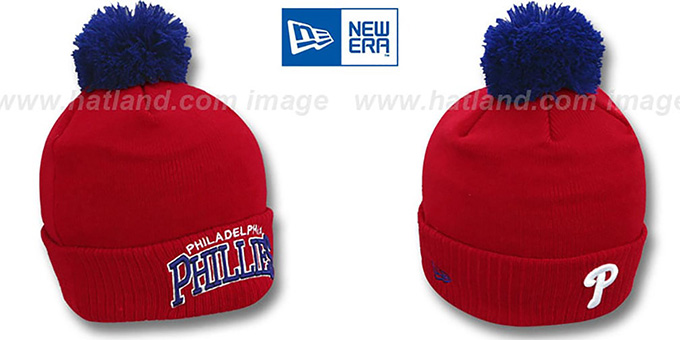 Phillies 'ARCHED-RIBBED' Red Knit Beanie Hat by New Era : pictured without stickers that these products are shipped with