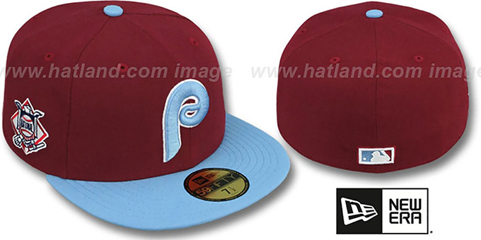 Phillies 'BAYCIK' Burgundy-Sky Fitted Hat by New Era : pictured without stickers that these products are shipped with