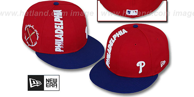 Phillies 'BEELINE' Red-Royal Fitted Hat by New Era : pictured without stickers that these products are shipped with