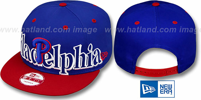 Phillies 'BIG CITY PUNCH SNAPBACK' Royal-Red Hat by New Era : pictured without stickers that these products are shipped with