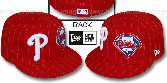 Phillies 'BIG-ONE DOUBLE WHAMMY' Red-White Fitted Hat : pictured without stickers that these products are shipped with