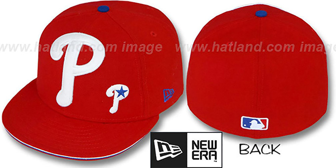 Phillies 'BIG-ONE LITTLE-ONE' Red Fitted Hat by New Era : pictured without stickers that these products are shipped with