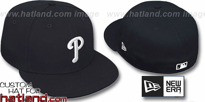 Phillies 'TEAM-BASIC' Black-White Fitted Hat by New Era : pictured without stickers that these products are shipped with