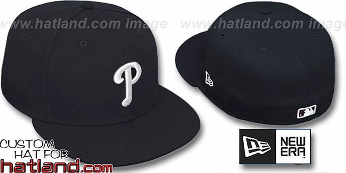 Philadelphia Phillies TEAM-BASIC Black-White Fitted Hat 1e4c331aee9