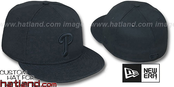 Phillies 'BLACKOUT' Fitted Hat by New Era : pictured without stickers that these products are shipped with