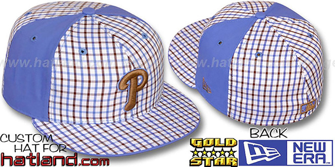Phillies 'BLUE BONNETT' Plaid-Light Blue Fitted Hat by New Era : pictured without stickers that these products are shipped with