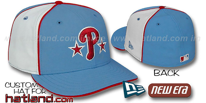 Phillies BP 'PINWHEEL-2' Columbia-White Fitted Hat : pictured without stickers that these products are shipped with