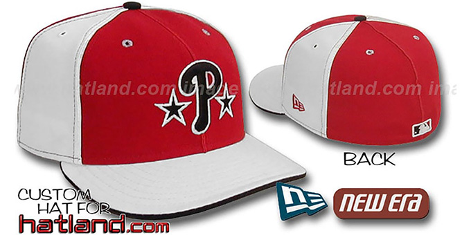 Phillies BP 'PINWHEEL-3' Red-White Fitted Hat by New Era : pictured without stickers that these products are shipped with