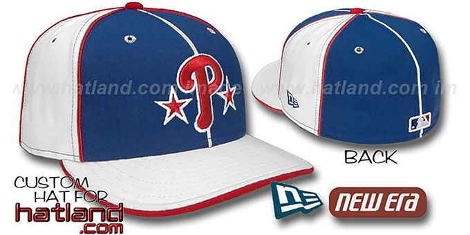 Phillies BP 'PINWHEEL-3' Royal-White Fitted Hat by New Era : pictured without stickers that these products are shipped with