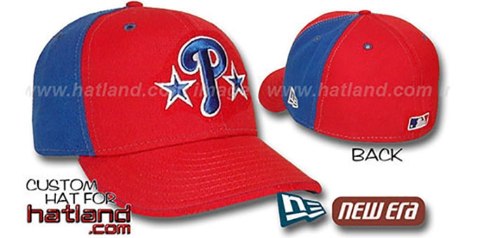 Phillies 'BP-PINWHEEL' Red-Royal Fitted Hat by New Era : pictured without stickers that these products are shipped with