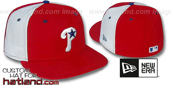 Phillies BP 'PINWHEEL' Red-White Fitted Hat by New Era : pictured without stickers that these products are shipped with