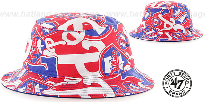 Phillies 'BRAVADO BUCKET' Hat by Twins 47 Brand : pictured without stickers that these products are shipped with
