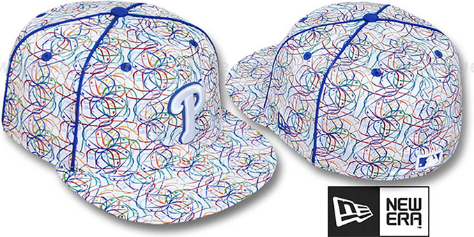 Phillies 'BRUSHED-ART' White-Multi Fitted Hat by New Era : pictured without stickers that these products are shipped with