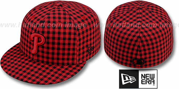 Phillies 'BUFFALO GINGHAM' Red-Black Fitted Hat by New Era : pictured without stickers that these products are shipped with