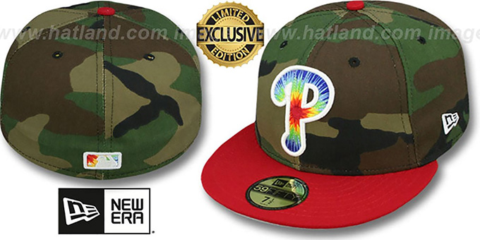 Phillies 'CAMO TYE-DYE INSIDER' Army-Red Fitted Hat by New Era : pictured without stickers that these products are shipped with