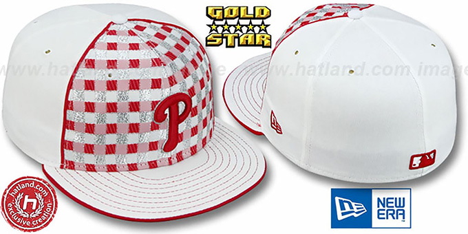 Phillies 'CANDY CANE' Fitted Hat by New Era : pictured without stickers that these products are shipped with