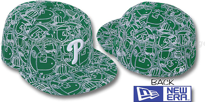 Phillies 'CHAOS PUFFY' Kelly-White Fitted Hat by New Era : pictured without stickers that these products are shipped with