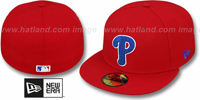 Phillies 'CHENILLE APPLIQUE' Red Fitted Hat by New Era : pictured without stickers that these products are shipped with