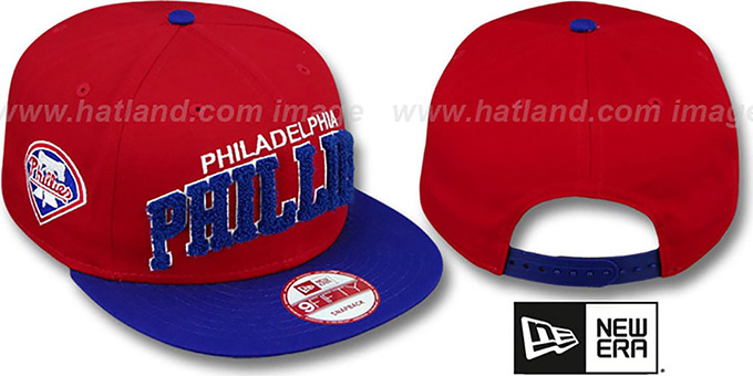 Phillies 'CHENILLE-ARCH SNAPBACK' Red-Royal Hat by New Era : pictured without stickers that these products are shipped with