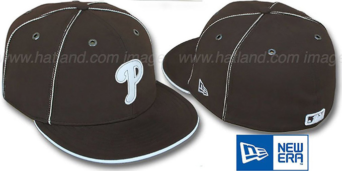 Phillies 'CHOCOLATE DaBu' Fitted Hat by New Era : pictured without stickers that these products are shipped with