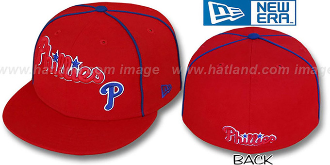 Phillies 'CITY-FLAWLESS' Red Fitted Hat by New Era : pictured without stickers that these products are shipped with