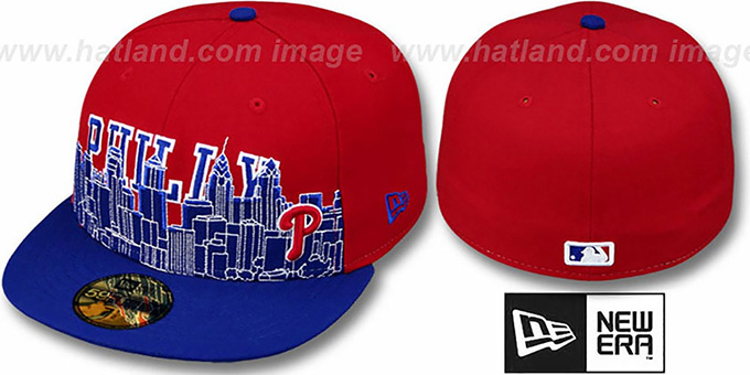 Phillies 'CITY-LINE' Red-Royal Fitted Hat by New Era : pictured without stickers that these products are shipped with