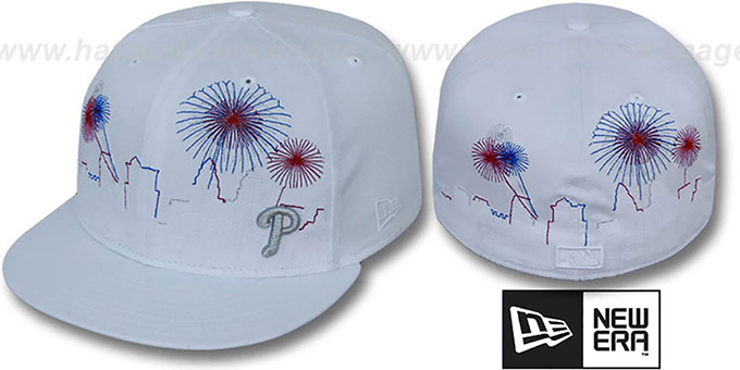 Phillies 'CITY-SKYLINE FIREWORKS' White Fitted Hat by New Era : pictured without stickers that these products are shipped with