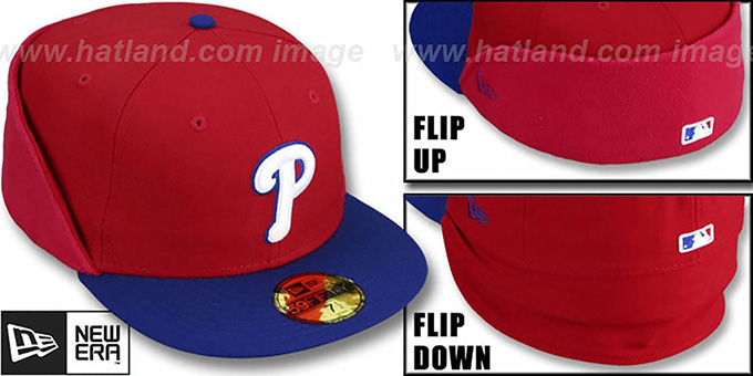 Phillies 'CLEAN CUT FLIP-DOWN' Red-Royal Fitted Hat by New Era : pictured without stickers that these products are shipped with